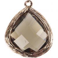 Smykkevedhæng, str. 15x18 mm, hulstr. 1 mm, transparent grå, 1 stk.