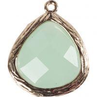 Smykkevedhæng, str. 15x18 mm, hulstr. 1 mm, lys grøn, 1 stk.