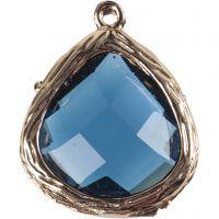 Smykkevedhæng, str. 15x18 mm, hulstr. 1 mm, transparent blå, 1 stk.