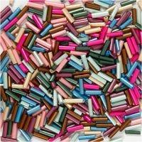 Aflange glasperler, L: 6 mm, diam. 1,5-2 mm, hulstr. 1 mm, metallicfarver, 130 g/ 1 pk.