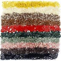 Plastperler, diam. 6 mm, hulstr. 1,5 mm, ass. farver, 10x40 g/ 1 pk.