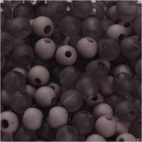 Plastperler, diam. 6 mm, hulstr. 2 mm, lys lilla, 40 g/ 1 pk.