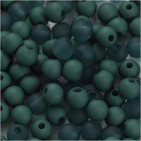 Plastperler, diam. 6 mm, hulstr. 2 mm, flaskegrøn, 40 g/ 1 pk.