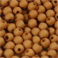 Plastperler, diam. 6 mm, hulstr. 2 mm, brun, 40 g/ 1 pk.