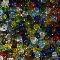 Rocaiperler, diam. 4 mm, str. 6/0 , hulstr. 0,9-1,2 mm, blank transparent, 1000 g/ 1 pk.