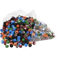 Link Beads, str. 8x10 mm, hulstr. 5 mm, ass. farver, 300 g/ 1 pk.