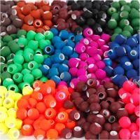 Link Beads, str. 8x10 mm, hulstr. 5 mm, ass. farver, 20x21 g/ 1 pk.