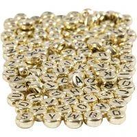 Bogstavperler, diam. 7 mm, hulstr. 1,2 mm, guld, 165 g/ 1 pk.