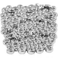 Bogstavperler, diam. 7 mm, hulstr. 1,2 mm, sølv, 165 g/ 1 pk.