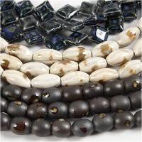 Pottery Beads, L: 12-19 mm, hulstr. 2 mm, blå, grå beige, råhvid, 99 stk./ 1 pk.