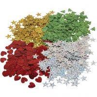 Julepailletter, str. 14-16 mm, 4x20 g/ 1 pk.