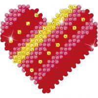 Diamond Dotz - billede på stof, patchwork hjerte, str. 7,6x7,6 cm, 1 pk.