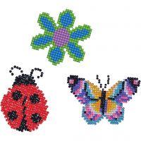 Diamond Dotz - stickers, blomst, sommerfugl og mariehøne, str. 18x10 cm, 1 pk.
