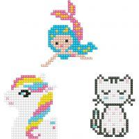 Diamond Dotz - stickers, kat, havfrue og pony, str. 18x10 cm, 1 pk.