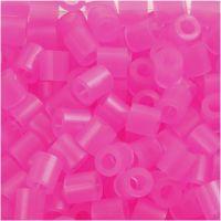 Rørperler, str. 5x5 mm, hulstr. 2,5 mm, medium, rosa neon (32257), 1100 stk./ 1 pk.