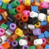 Rørperler med split, str. 5x5 mm, hulstr. 2,5 mm, medium, standardfarver, 1100 ass./ 1 pk.