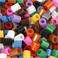 Rørperler med split, str. 5x5 mm, hulstr. 2,5 mm, medium, standardfarver, 6000 ass./ 1 pk.