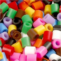 Rørperler, str. 5x5 mm, hulstr. 2,5 mm, medium, standardfarver, 6000 ass./ 1 pk.