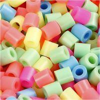 Rørperler, str. 5x5 mm, hulstr. 2,5 mm, medium, pastelfarver, 6000 ass./ 1 pk.