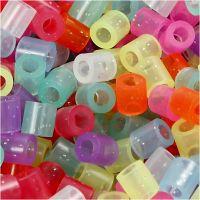 Rørperler, str. 5x5 mm, hulstr. 2,5 mm, medium, glitterfarver, 20000 ass./ 1 spand