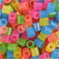 Rørperler, str. 5x5 mm, hulstr. 2,5 mm, medium, neonfarver, 1100 ass./ 1 pk.