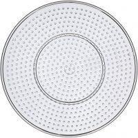 Perleplade, stor rund, diam. 15 cm, transparent, 10 stk./ 1 pk.