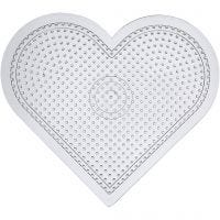 Perleplade, stort hjerte, H: 15 cm, transparent, 10 stk./ 1 pk.