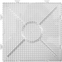 Perleplade, stor samlekvadrat, str. 15x15 cm, transparent, 2 stk./ 1 pk.