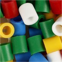 Rørperler, str. 10x10 mm, hulstr. 5,5 mm, JUMBO, standardfarver, 550 ass./ 1 pk.