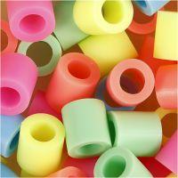 Rørperler, str. 10x10 mm, hulstr. 5,5 mm, JUMBO, pastelfarver, 2450 ass./ 1 spand