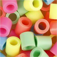 Rørperler, str. 10x10 mm, hulstr. 5,5 mm, JUMBO, pastelfarver, 550 ass./ 1 pk.
