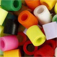 Rørperler, str. 10x10 mm, hulstr. 5,5 mm, JUMBO, suppleringsfarver, 550 ass./ 1 pk.
