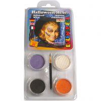 Eulenspiegel Ansigtsmaling - sminkesæt, halloween heks, ass. farver, 1 sæt
