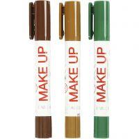 Playcolor Make up, lys brun, mørk brun, grøn, 3x5 g/ 1 pk.