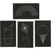 String Art plader, str. 20x12 cm, tykkelse 10 mm, sort, 16 stk./ 1 pk.