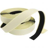Burrebånd-/velcrobånd - selvklæbende, tykkelse 2 cm, sort, 25 m/ 1 pk.