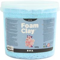 Foam Clay®, glitter, lyseblå, 560 g/ 1 spand