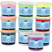 Foam Clay®, glitter, ass. farver, 10x560 g/ 1 pk.