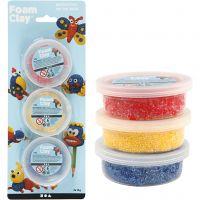 Foam Clay®, blå, rød, gul, 3x14 g/ 1 pk.