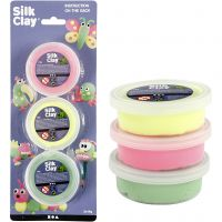 Silk Clay®, lys grøn, neon pink, neon gul, 3x14 g/ 1 pk.