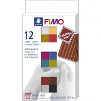 FIMO® Leather Effect , ass. farver, 12x25 g/ 1 pk.