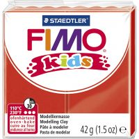 FIMO® Kids ler, rød, 42 g/ 1 pk.