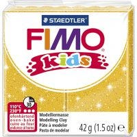 FIMO® Kids ler, glitter, guld, 42 g/ 1 pk.
