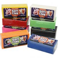 Soft Clay Modellervoks, str. 13x6x4 cm, ass. farver, 8x500 g/ 1 pk.