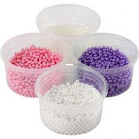 Pearl Clay®, pink, lilla, hvid, 1 sæt, 3x25+38 g