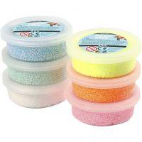 Foam Clay®, glitter, pastelfarver, 6x14 g/ 1 pk.