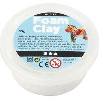 Foam Clay®, glitter, hvid, 35 g/ 1 ds.