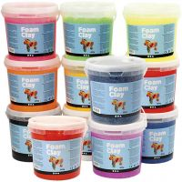 Foam Clay®, Indhold kan variere, ass. farver, 12x560 g/ 1 pk.