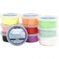 Foam Clay®, glitter, ass. farver, 10x35 g/ 1 pk.