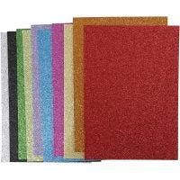 Mosgummi, A4, 210x297 mm, tykkelse 2 mm, glitter, ass. farver, 10 ass. ark/ 1 pk.
